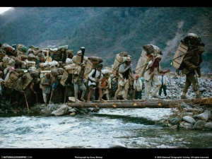 Nepalese porters on Everest  - 1963 .